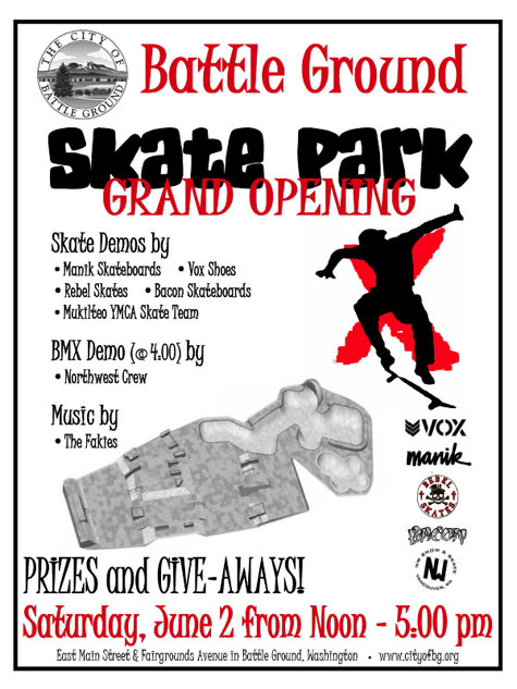 Battle Ground Skatepark Opening Flier