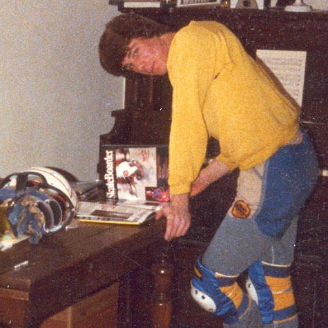 Ben reading Skateboarder magazine - 1979