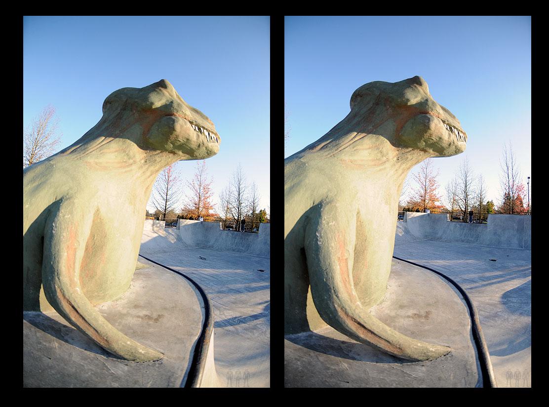 Tigard: T-Rex in portrait looking northeast